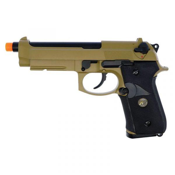 Pistola Airsoft Beretta M92 TAN Desert GBB Metal c/ Lanterna Tática