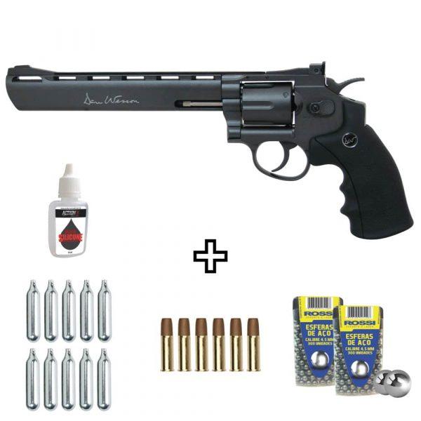 Revólver Dan Wesson 8″ Black Co2 Full Metal 4,5mm Kit