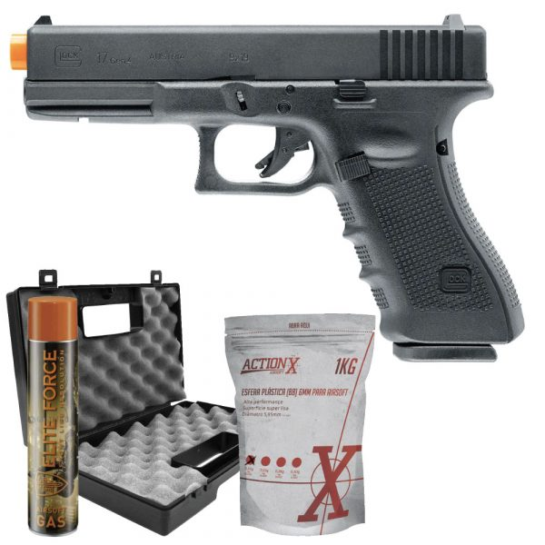 Pistola Airsoft Glock G17 Gen4 GBB Blowback Umarex 6mm Kit