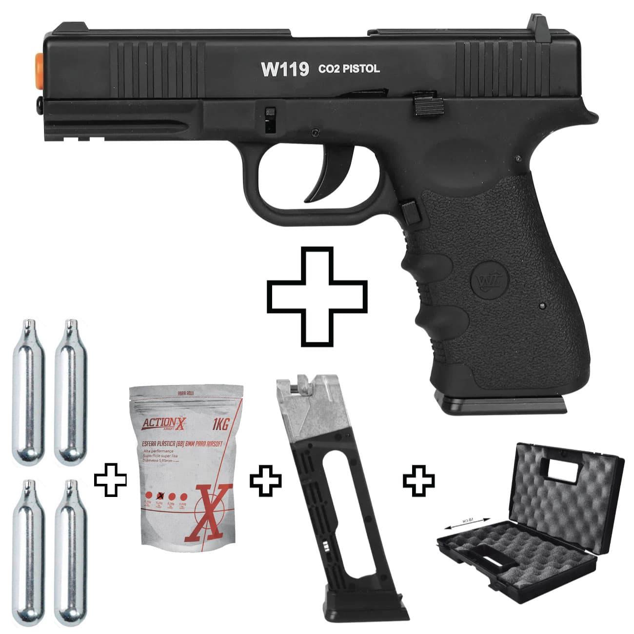 Pistola Airsoft Glock W119 Metal Co2 6mm + Magazine + Maleta