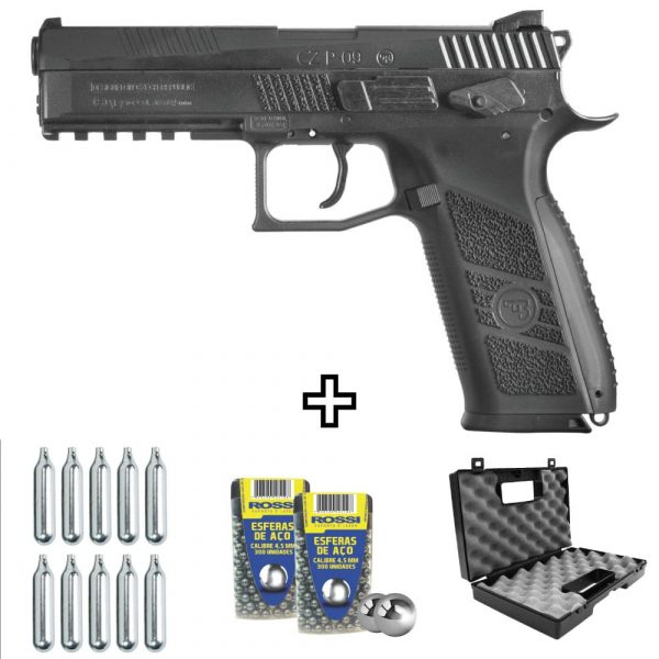 Pistola de Chumbinho CZ P09 CO2 ASG 4,5mm Kit