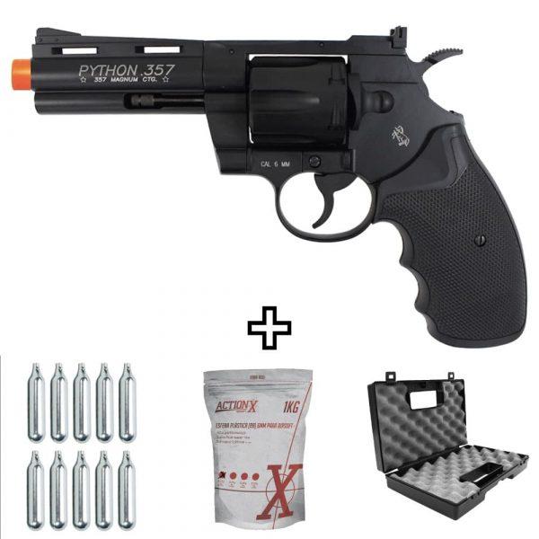 Revolver Airsoft Colt Python 4″ Metal Co2 Cyber Gun 6mm