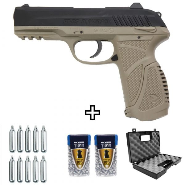 Pistola Gamo PT-85 Blowback Desert Co2 4,5mm Kit