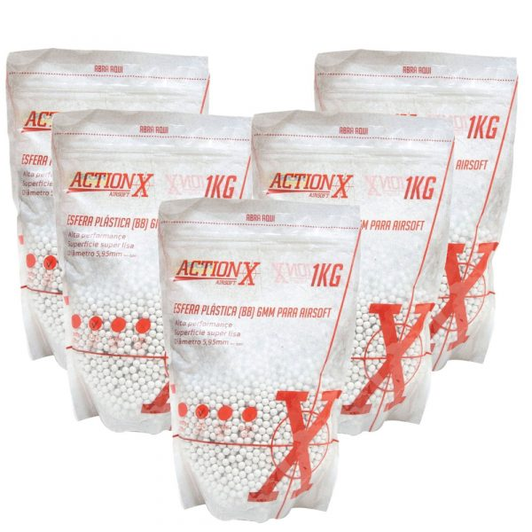 Kit 5 Pacotes BBs Airsoft 20000 .25g Actionx