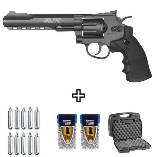 Revólver Co2 Gamo PR-776 de Chumbinho 4,5mm Kit