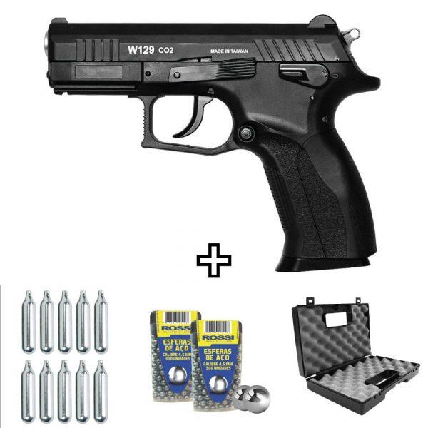 Pistola Airgun CZ300 Wingun W129 Slide Metal Co2 4,5mm Kit