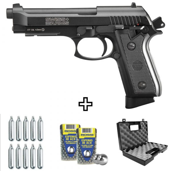 Pistola Airgun Swiss Arms P92 Co2 Blowback Full Metal 4,5mm Kit