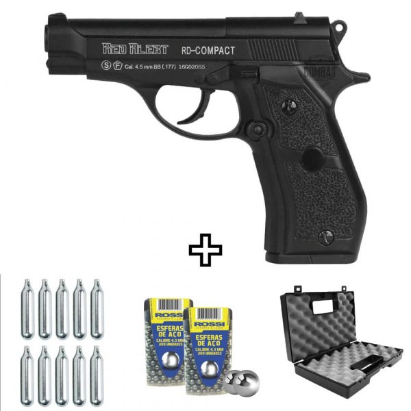 Pistola Airgun Pressão Gamo Red Alert RD-Compact Co2 4,5mm Kit