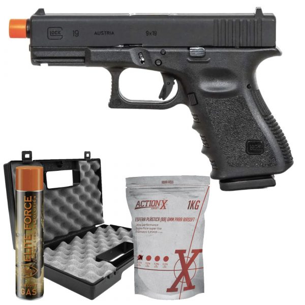 Pistola Airsoft Glock G19 GBB Blowback Umarex 6mm Kit