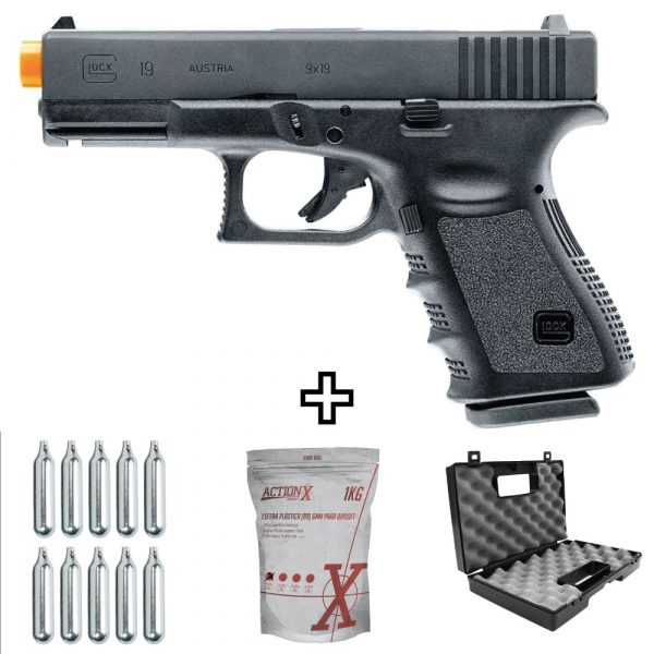 Pistola Airsoft Glock G19  Umarex Co2 6mm Kit