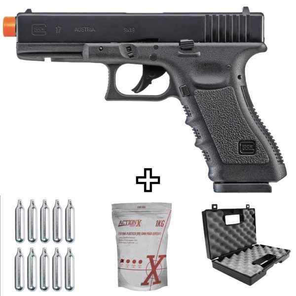 Pistola Airsoft Glock G17 CO2 Blowback Umarex 6mm kit