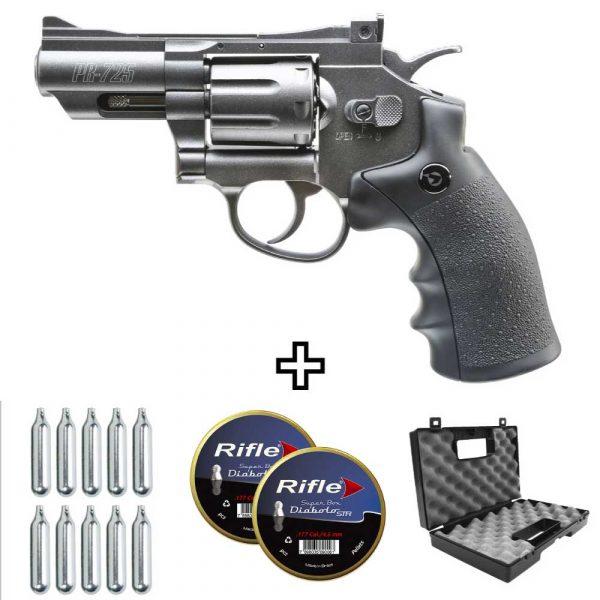 Revólver Co2 Gamo PR725 de Chumbinho 4,5mm Kit