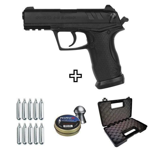 Pistola Airgun Gamo C-15 Blowback Co2 4,5mm Kit