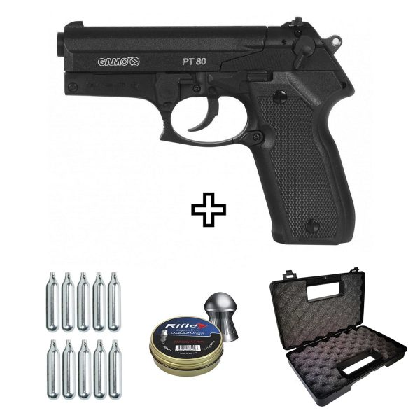Pistola Airgun Pressão Gamo PT-80 de Chumbinho Co2 4,5mm Kit