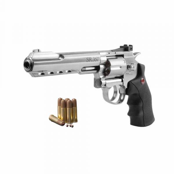 Revólver Airgun Crosman CO2 SR357 Cromado Full Metal 4,5mm
