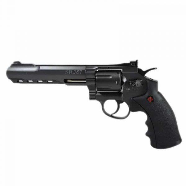 Kit Revólver Airgun Crosman CO2 SR357 Black Full Metal 4,5mm