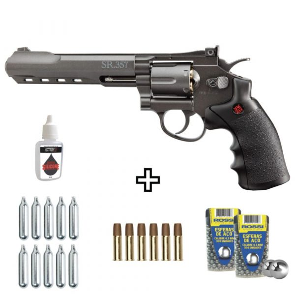 Kit Revólver Airgun Crosman CO2 SR357 Black Full Metal 4,5mm
