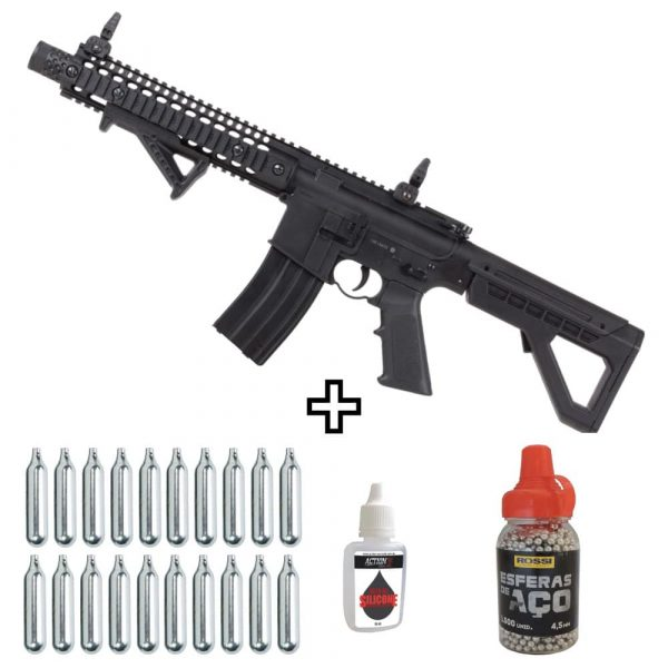 Carabina Crosman DPMS SBR M4 Full Auto Co2 Blowback 4,5mm
