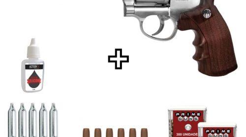 Revólver de Pressão Rossi W702s Cromado 6″ Co2 4,5mm Kit