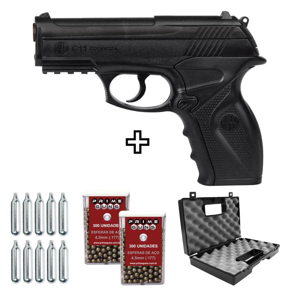 Kit Pistola C11 4,5mm Airgun Co2 Rossi Wingun
