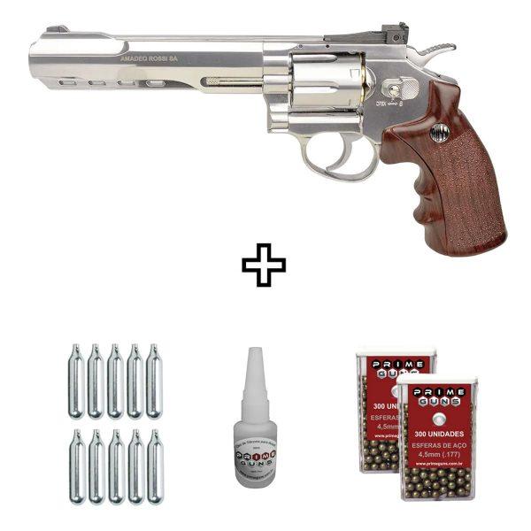 Kit Revólver de Pressão Rossi W702s Cromado 6″ Co2 4,5mm