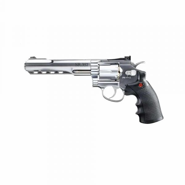 Kit Revólver Airgun Crosman CO2 SR357 Cromado Full Metal 4,5mm