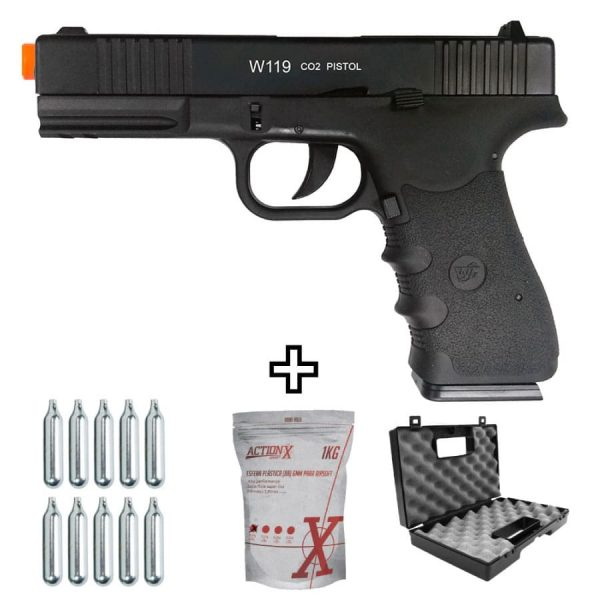 Pistola Airsoft Wingun W119 Slide Metal Co2 6mm Kit