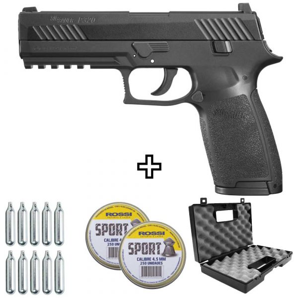 Kit Pistola Chumbinho Sig Sauer P320 Co2 Blowback 4,5mm