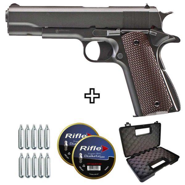 Pistola de Chumbinho 1911 Colt KWC CO2 Slide Metal 4,5mm combo