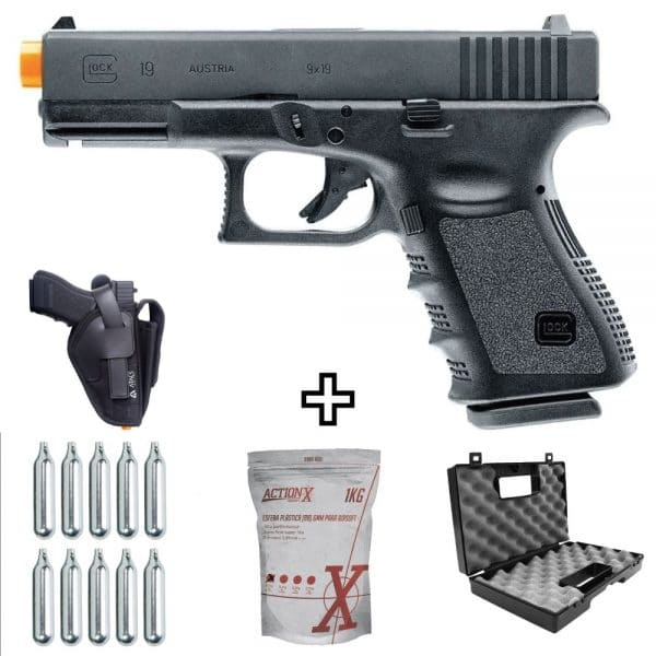 Pistola Airsoft Co2 Glock G19 Umarex 6mm + Coldre