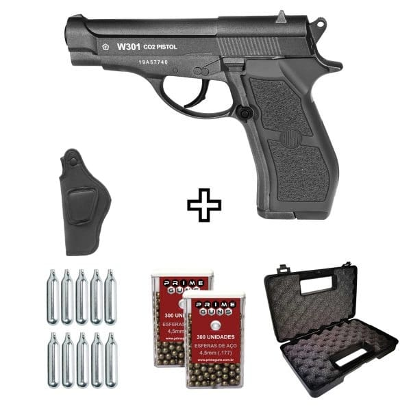 Pistola Airgun W301 CO2 Wingun 4,5mm Full Metal + Coldre