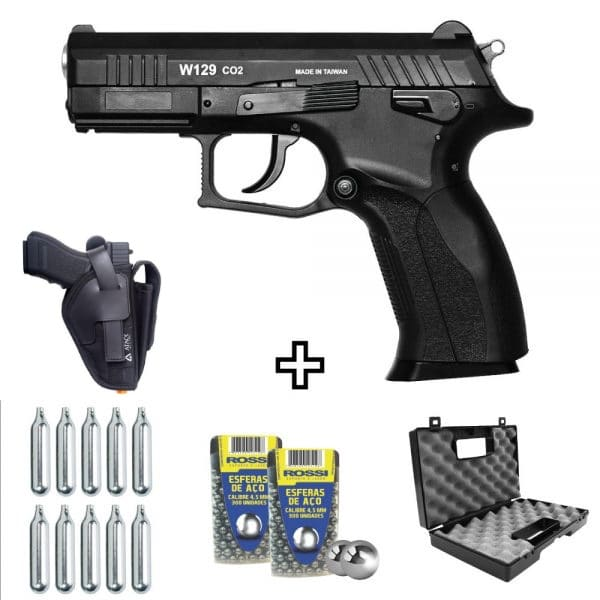 Pistola de Pressão CZ300 W129 Wingun Co2 4,5mm + Coldre