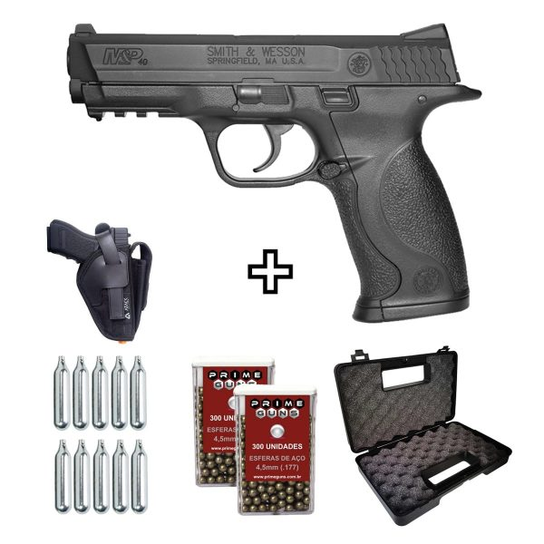 Pistola Airgun Smith Wesson MP40 Co2 4,5mm + Coldre