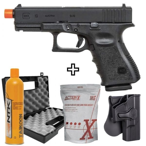 Pistola Airsoft Glock G19 GBB Blowback 6mm + Coldre