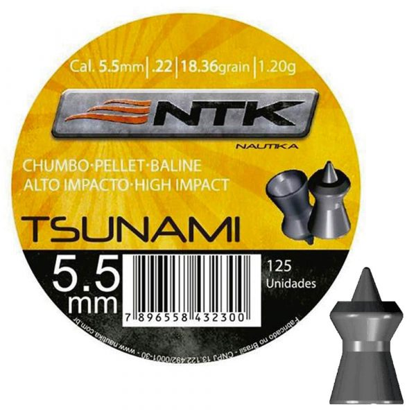Chumbinho NTK Tsunami 5,5mm (.22) Tático 125un