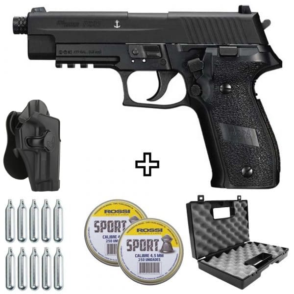 Pistola Chumbinho Sig Sauer P226 CO2 Blowback 4,5mm + Coldre