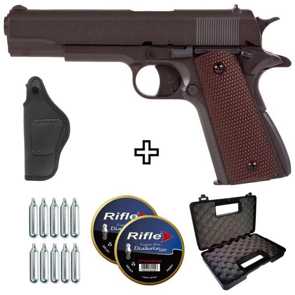 Pistola Chumbinho 1911 Valor CO2 Metal 4,5mm + Coldre