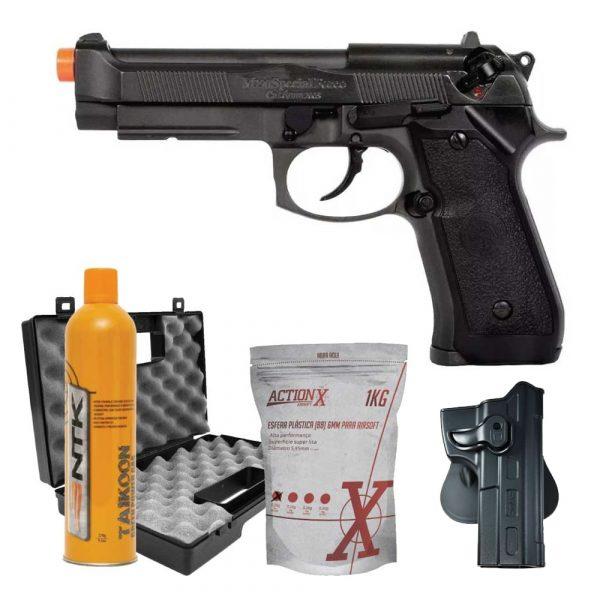 Pistola Airsoft PT92 HFC Blowback Metal GBB 6mm + Coldre