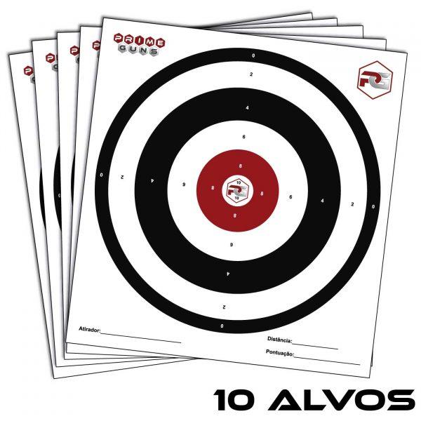 10 Alvos Papel 28x30cm Prime Guns Tiro Esportivo