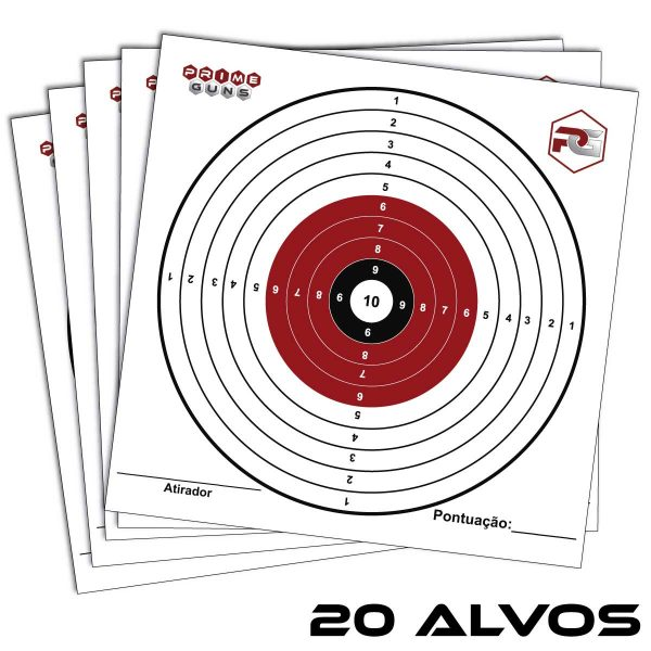 20 Alvos 145 x 145mm Olímpico Cartão Prime Guns Tiro Esportivo