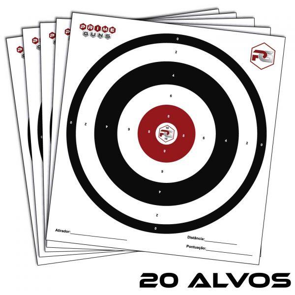 20 Alvos Papel 28x30cm Prime Guns Tiro Esportivo