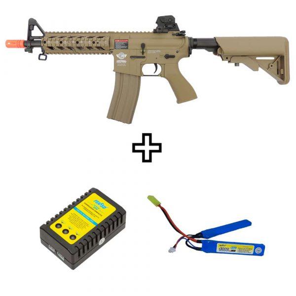 Rifle Airsoft G&G CM16 Raider Desert Elétrico AEG 6mm Kit
