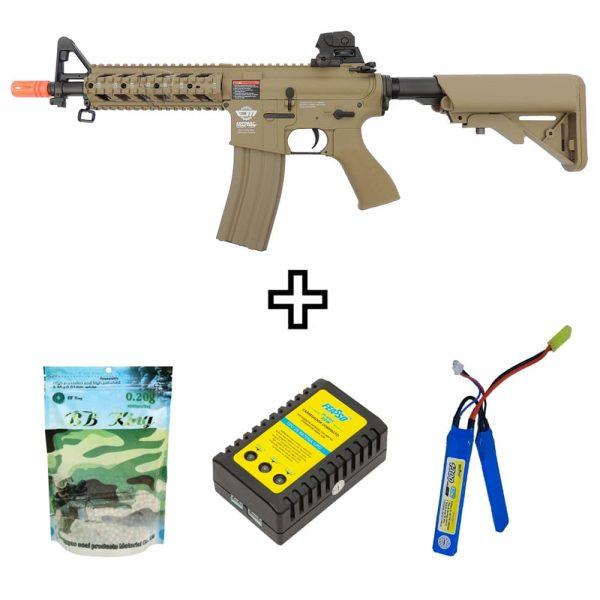 Rifle Airsoft G&G CM16 Raider Desert Elétrico AEG 6mm BBs e Bateria