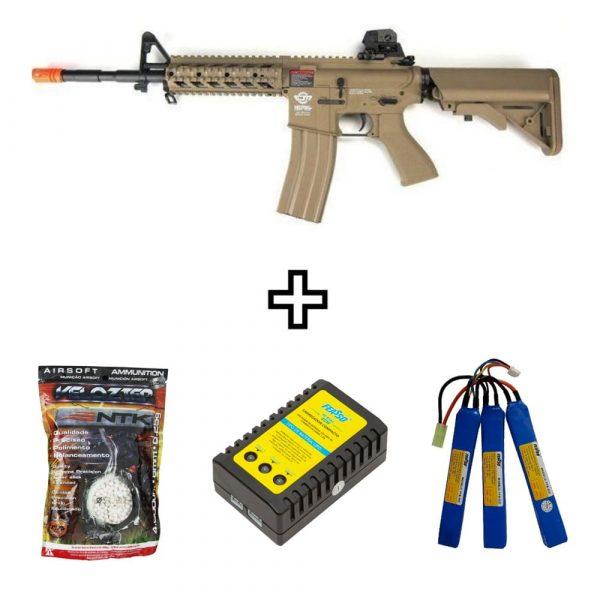 Rifle Airsoft G&G CM16 Raider L Desert Elétrico AEG 6mm BBs e Bateria