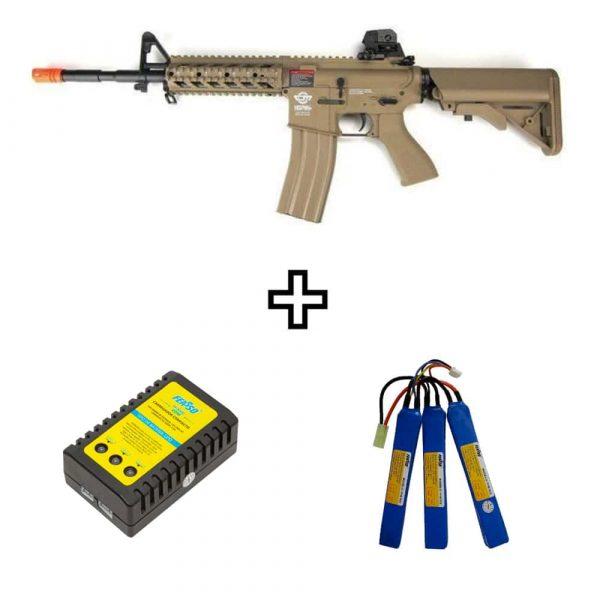 Rifle Airsoft G&G CM16 Raider L Desert Elétrico AEG 6mm Kit