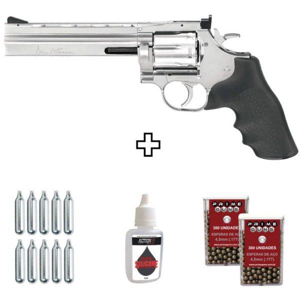 Revólver Dan Wesson 715 6″ Cromado 4,5mm Full Metal + Esferas