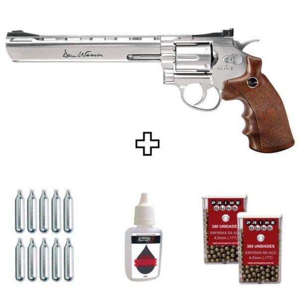 Revólver Dan Wesson 8″ Cromado Co2 4,5mm Metal Kit