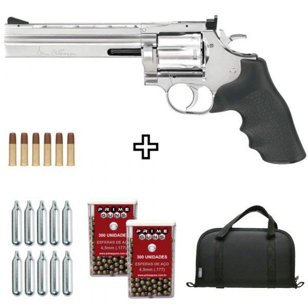 Revólver DW 715 Cromado ASG 4,5mm Full Metal Dan Wesson + Capa