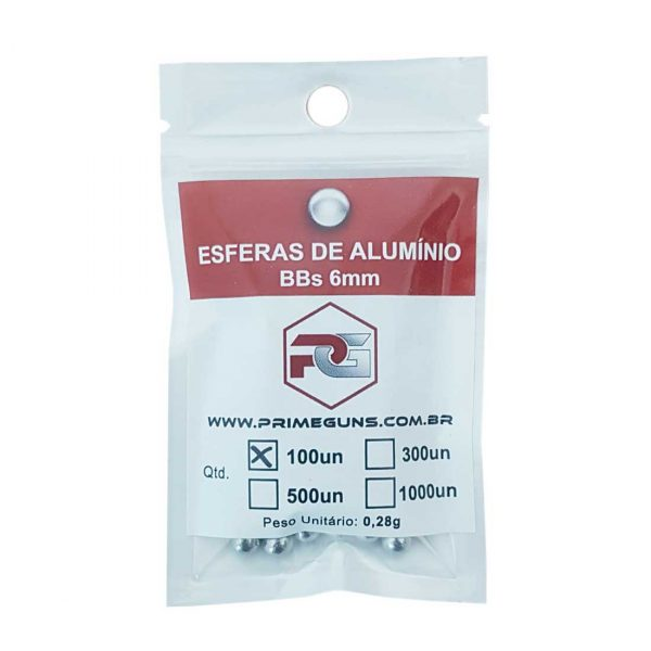Esfera de Alumínio 6mm .28g Para Airsoft e Airgun 100un