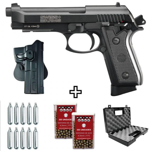 Pistola SA P92 Blowback Full Metal Co2 4,5mm + Maleta + Coldre